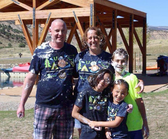 Carter family covered in paint