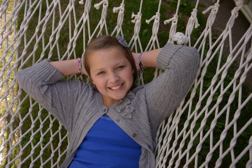 Alyssa relaxing in a hammock