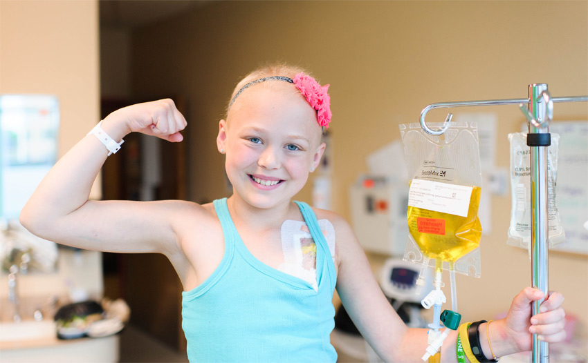 Cheyenne flexing her muscles during treatment