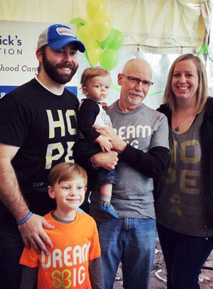 Ezra and his family at a St. Baldrick's event