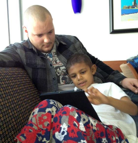 Isaac and his dad at the hospital
