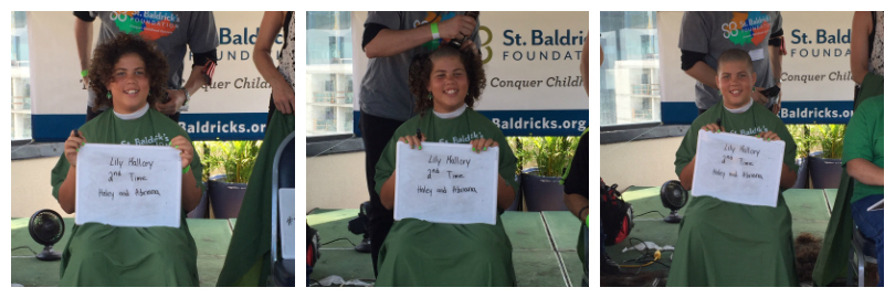 A collage of Lily going under the clippers at a St. Baldrick's event
