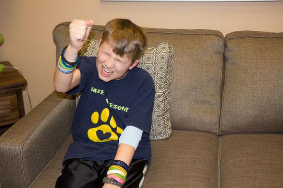 Chase cheering at the good news