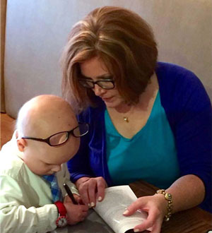 Chase and Ellie with 'Chase Away Cancer'