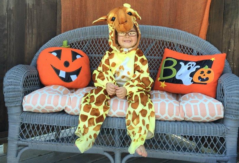Annie wears her favorite giraffe costume