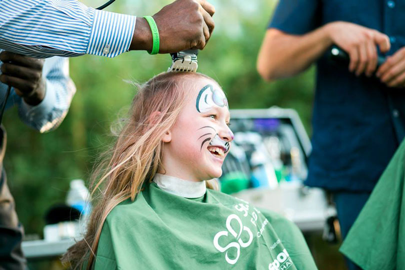 April goes bald for childhood cancer