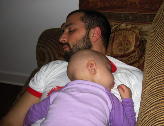 Althea and her dad sleeping