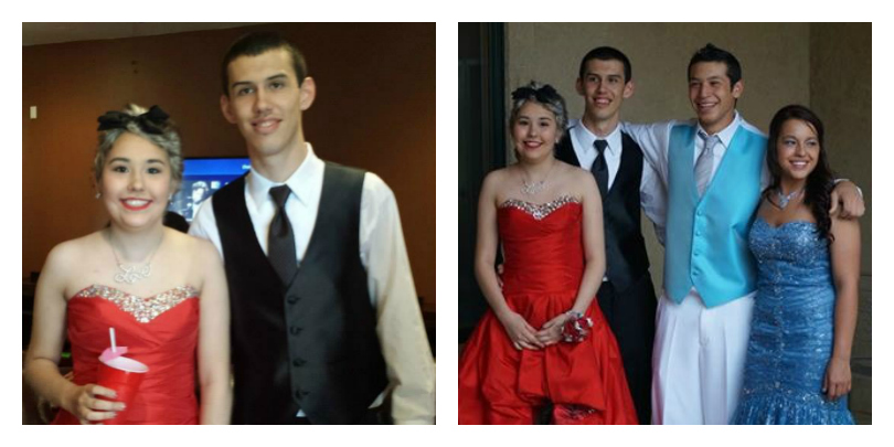 A collage of photos from Josh and Janea's prom