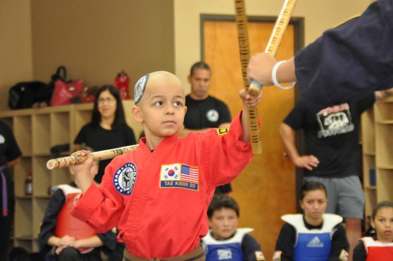 Zein practices taekwondo