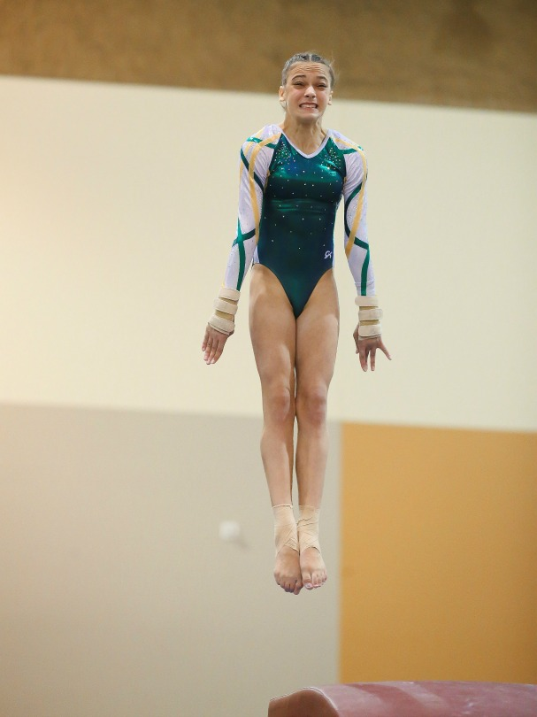 Juliana concentrates during a gymnastics routine