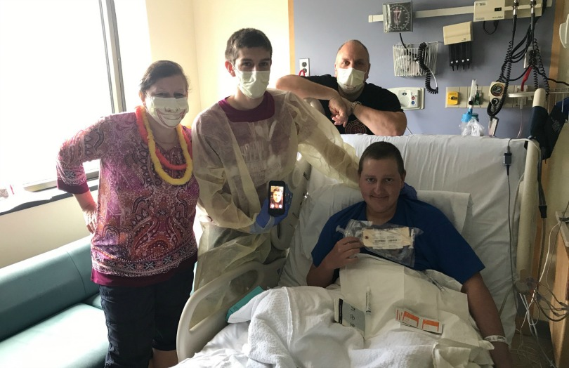 Zach and his family before his bone marrow transplant