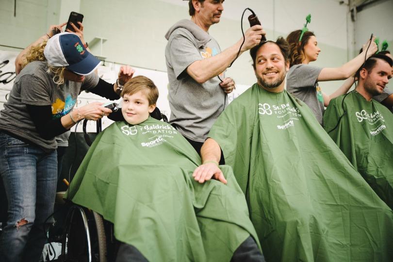 Shane gets a trim at his St. Baldrick's event
