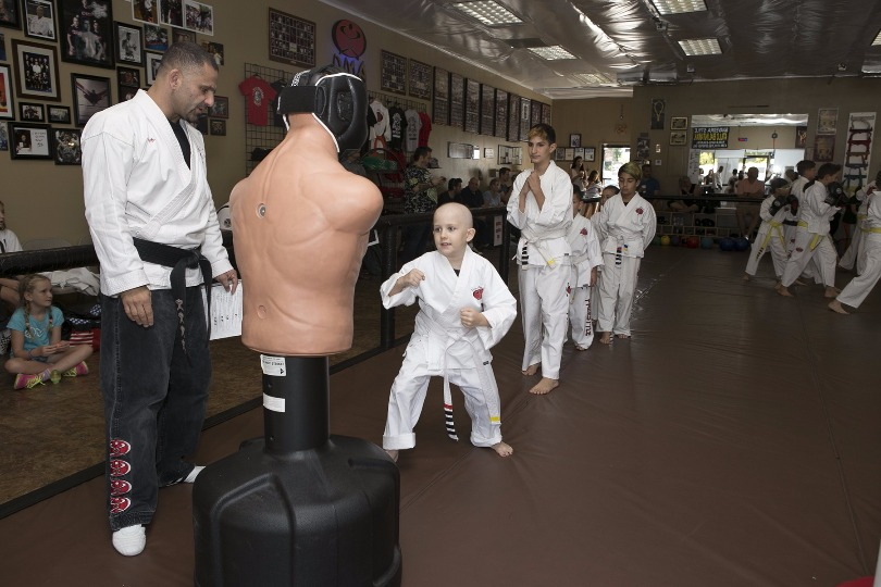 Honored Kid Grace during karate class