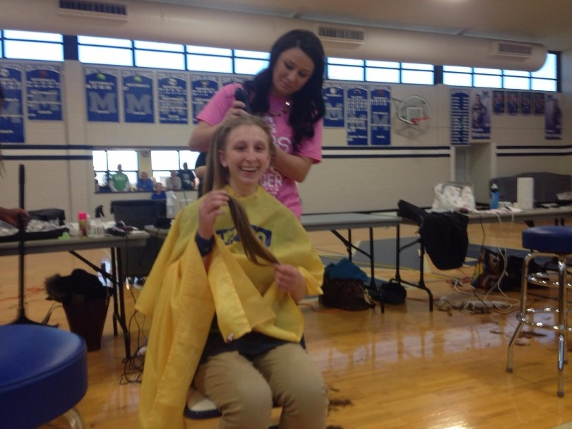 Alyssa shaves with St. Baldrick's