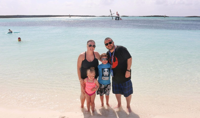 Jim and his family at the beach during their cruise