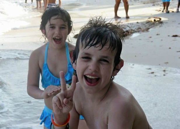 David with his sister Daisy at the beach