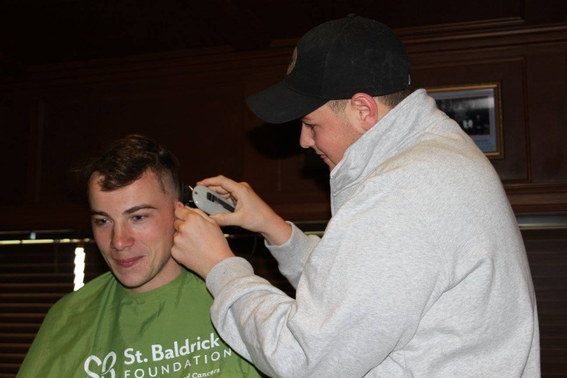 Joey shaves his head for kids' cancer research
