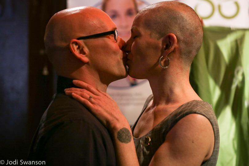 Corrine and Tim kiss