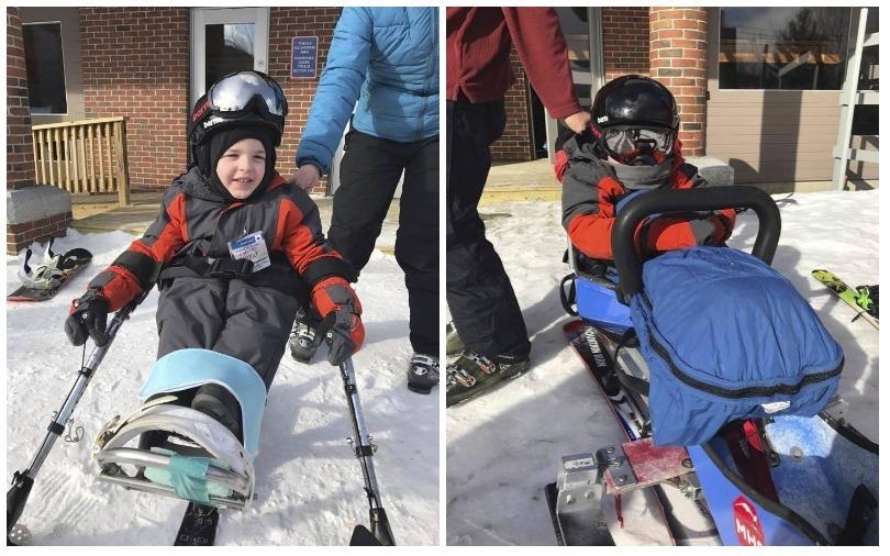 Kellan on his adapted skis