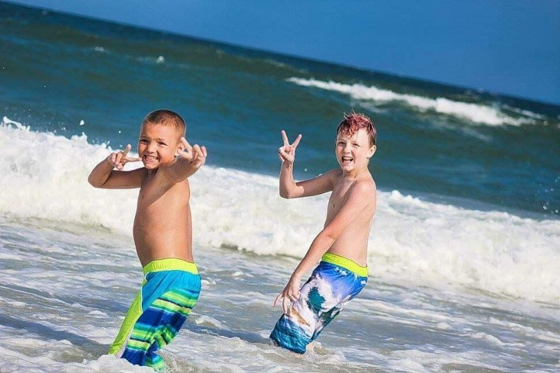 Patrick and Collin at the beach