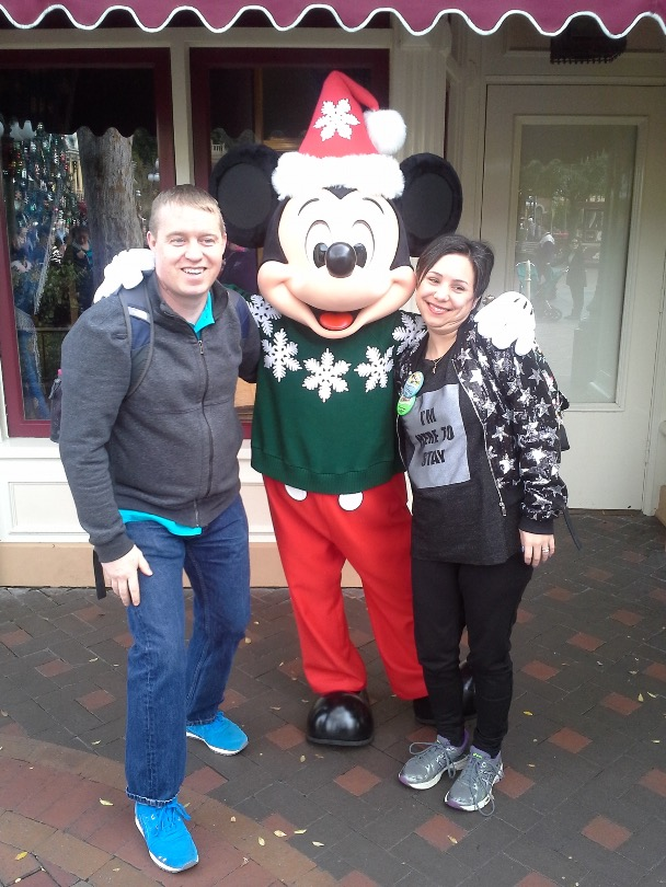 Brittany, Patrick and Mickey Mouse at Disneyland