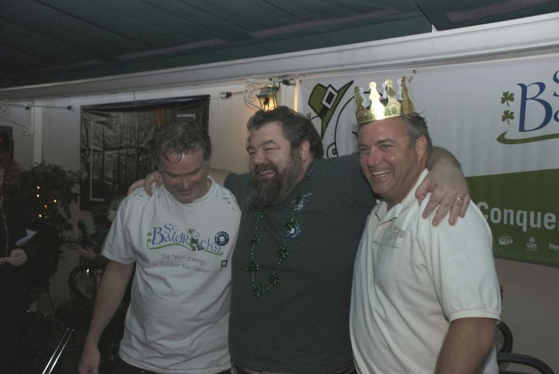 Tim, Mark and Matt stand together during a St. Baldrick's event