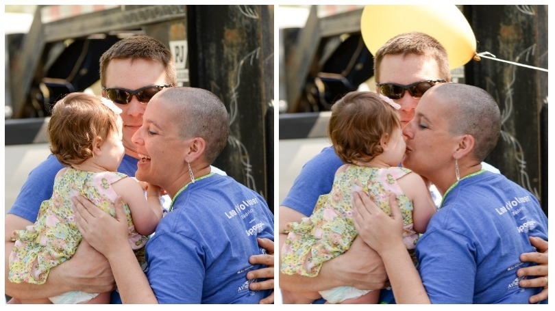Rebecca Morrow kisses her daughter after shaving