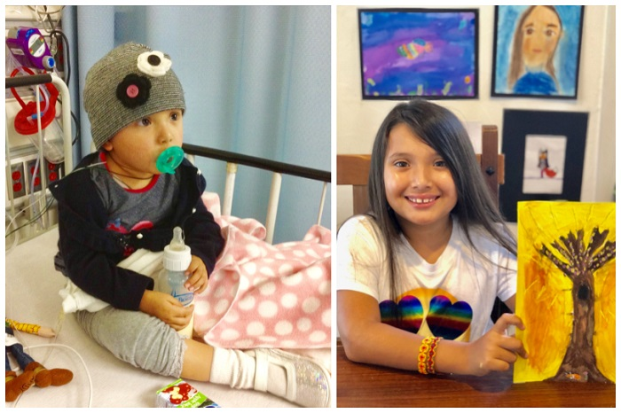 A collage of Emma Sophia in treatment and in remission