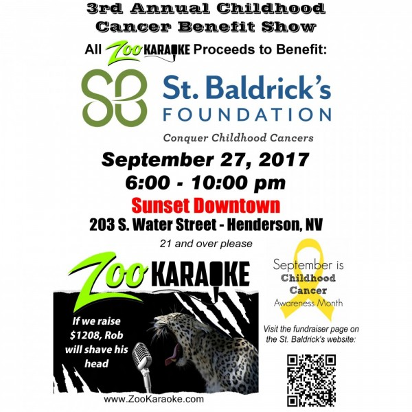 Zoo Karaoke Childhood Cancer Benefit Show Fundraiser Logo