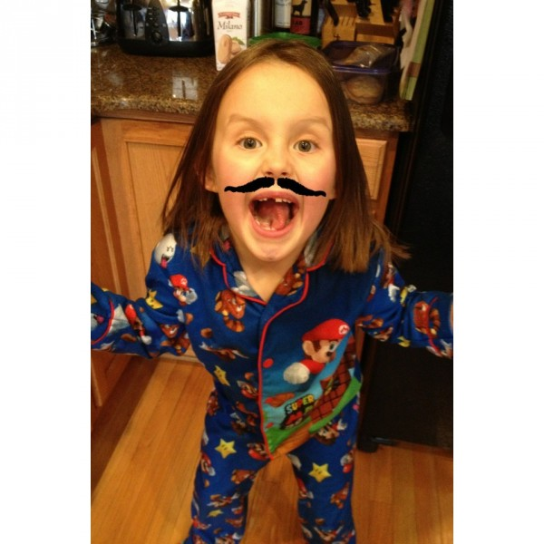 """Team Delaney AND Luca: """"Cancer Can Kiss my Stache!"""" Team Logo"""