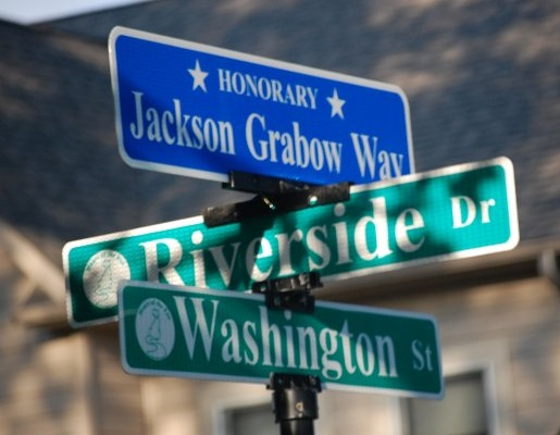 Honorary Jackson Grabow Way street sign